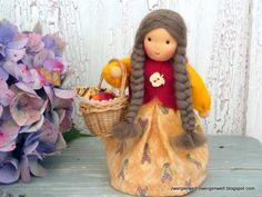 Jahreszeitentisch - Blumenkind Ursula mit Apfelkorb - ein Designerstück von Zwergenwelt bei DaWanda