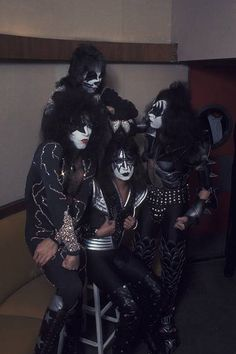 Peter Criss Paul Stanley Ace Frehley and Gene Simmons of American hard rock band KISS at a press conference on April 9 1976 in New York City