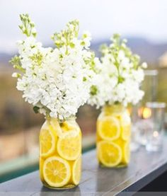 Baby's Breath & Lemon Slices Centerpieces