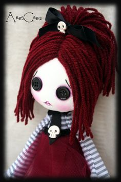 Creepy cute doll Opaline handmade zombie goth cloth doll with black button eyes and skulls. Goth rag doll. Goth cloth doll - pinned by pin4etsy.com