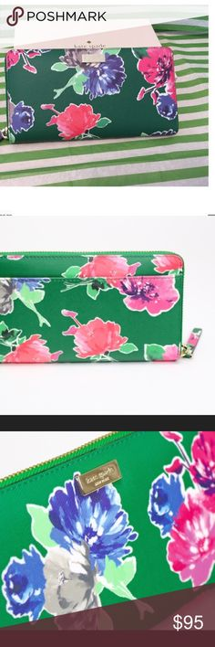 ♠️Adorable Kate spade In full bloom wallet♠️ ♠️Kate spade original with exceptional hand crafted quality.  Pretty bright green with hot pink accents of grey, and smokey light baby blue floral print. ♠️♠️♠️♠️♠️♠️♠️♠️♠️ kate spade Bags Wallets