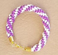Purple and White Kumihimo Braided Bracelet by KalaaStudio on Etsy