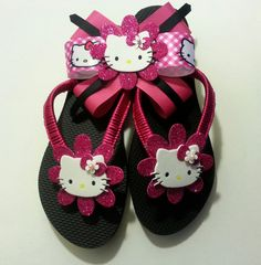 Hand made Hello Kitty Flip flops and Bow set by ThePinkBowBowtique, $28.00