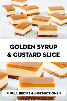 Golden syrup and custard slice Tray Bake Recipes, Baking Recipes, Cake Recipes, Baking Tips, Baking Ideas, Custard Slice, Christmas Cooking, Biscuit Recipe, Desert Recipes