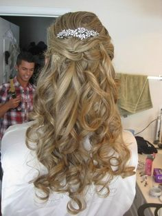 wedding hair down with just a little pulled back...love the pearl-looking hair piece!