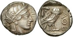 Athens, Greece, Old Style Tetradrachm, 449 - 413 B.C.