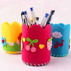 / lot DIY Handmade Felt Fabric Craft Kits Toy Pen Container for Kids - Fabric Craft Ideas Felt Crafts, Fabric Crafts, Crafts For Kids, Fabric Pen, Felt Fabric, Pot A Crayon, Craft Kits For Kids, Craft Ideas, Toy Craft