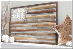Learn how to make a flag out of vintage baseball bats.   www.findinghomeonline.com