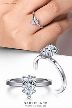 Embrace tradition with this classic solitaire setting. ER14982P4W4JJJ #EngagementRings #PearShapedEngagementRing #SolitaireEngagementRings #WhiteGoldEngagementRings #DiamondEngagementRing #GabrielNY Spring Wedding Decorations, Summer Wedding Colors, Wedding Ideas, Pear Shaped Engagement Rings, Solitaire Engagement, Solitaire Setting, Pear Shaped Diamond, Jewelry Branding, Fine Jewelry