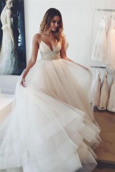 Simple Spaghetti Straps Beaded Long V-neck Tulle Beach Wedding Dresses W34