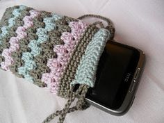 nice crocheted phone case mobile phones, granni stripe, crochet phone case pattern, phone crochet, cell phone, forest, granny squares, stripes, mobil phonesaccessori