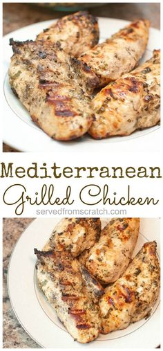 Diet Recipes Super easy Mediterranean Grilled Chicken Breasts - A easy, healthy, delicious way to grill those boneless chicken breasts! Mediterranean Dishes, Mediterranean Diet Recipes, Mediterranean Chicken Marinade, Mediterranean Diet Breakfast, Cooking Recipes, Healthy Recipes, Skinny Recipes, Bread Recipes, Cooking Tips