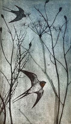 Swallows - collagraph - Kerry Buck This reminds me of living in Olympia WA Vogel Illustration, Figurative Kunst, Of Wallpaper, Art Plastique, Bird Art, Painting & Drawing, Art Projects, Street Art, Illustrations
