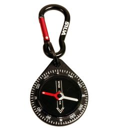 A handy little key ring compass with an integrated carabiner