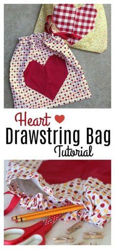Heart Drawstring Bag Tutorial