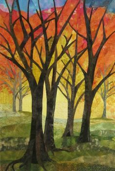 Trees by Mary Keasling at fiberliscious: Art quilt, commission for Chamber of Commerce
