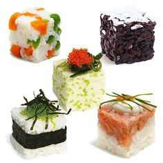 Gorgeous sushi made easy- watch this video (http://www.abodeon.com/rice-cube/)