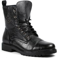 1d95fe887f90 Polar Fox Black Mens Lace Up Military Combat Work Desert Fashion Ankle Boot  w  Leather Lining