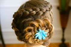 cute hairstyles for long hair - dutch flower braid (I have tried this before from Cute girls hairstyles but messed up!!!)