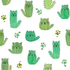 Cat-cus Cactus cats and paws by luciecookedesign fabric