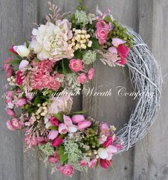 Spring Wreath Easter Garden Wreath Elegant by NewEnglandWreath Wreath Crafts, Diy Wreath, Grapevine Wreath, White Wreath, Door Wreaths, Wreath Ideas, Easter Wreaths, Holiday Wreaths, Corona Floral