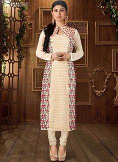 Mouni Roy Beige Embroidery Work Georgette Designer Churidar Suit http://www.angelnx.com/Salwar-Kameez/Bollywood-Salwar