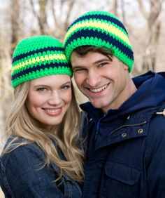 Cool Stripes Beanie Free Crochet Pattern from Red Heart Yarns