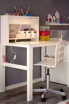 The IKEA PÅHL desk with add-on unit is designed to grow with your child, thanks to the three different heights, making it the perfect homework station for your little one.