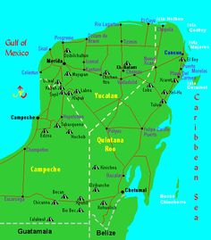 This Map of the #Mayan Ruins and Archaeological Sites in the #Yucatan Peninsula shows the locations of all the ancient Mayan Ruins that are located in the Cancun area or its vecinity.