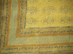 "Kensington Block Print Tapestry Cotton Bedspread 108"" x 88"" Full-Queen Yellow"