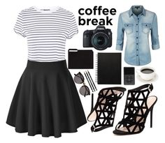 """""""Caffeine Fix: Coffee Break"""" by a-hidden-secret ❤ liked on Polyvore featuring Topshop, LE3NO, RMK, Illesteva and Eos"""