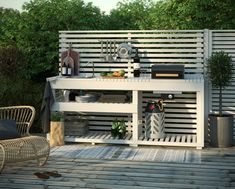Kitchen models: 60 ideas for all styles - Home Fashion Trend Small Outdoor Kitchens, Outdoor Sinks, Outdoor Spaces, Outdoor Living, Outdoor Decor, Backyard Furniture, Backyard Projects, Outdoor Furniture Sets, Patio Kitchen