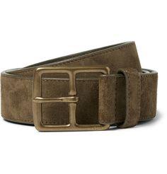 Polo Ralph Lauren Olive 3.5cm Heritage Suede Belt | MR PORTER