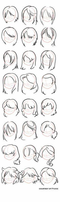 Art Drawings Sketches Simple, Pencil Art Drawings, Cartoon Drawings, Cute Drawings, Hair Drawings, Drawing Techniques, Drawing Tips, Drawing Ideas, Drawing Art