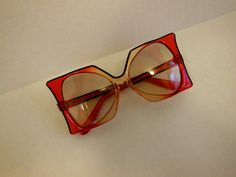 40a1f466ace1 1960s sunglasses   Vintage 60 s Oversized Red Pierre Cardin Delphine  Sunglasses Glasses