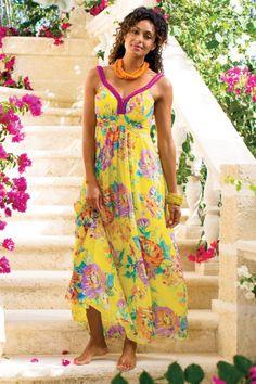 Talls Tropical Garden Dress – Print Chiffon Dress, Long Tropical Dress | Soft Surroundings