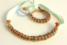Orange and green braided necklace and bracelet