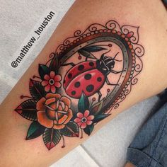 Something a bit different for Tina! #ladybird #rose #flowers #traditional #tattoo @salonserpenttattoo