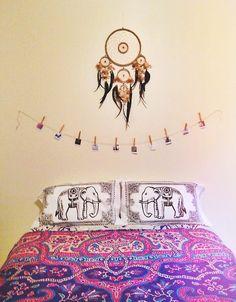 dream catcher hanging above my bed. Vintage Glam, Dream Rooms, Dream Bedroom, Elephant Pillow, Décor Boho, Boho Hippie, Boho Style, Boho Room, My New Room