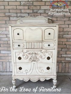 This dresser was painted with General Finishes Antique White Milk Paint and glazed with our Van Dyke Brown Glaze.  Such a great combo!  Visit For the Love of Furniture, https://www.facebook.com/Fortheloveoffurniture?fref=ts on facebook to see more of their beautiful work. #gfglazeeffects #gfmilkpaint