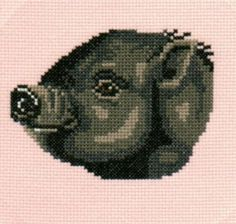 Pot Belly Pig counted crossstitch chart by 5PrickedFinger5 on Etsy, $3.25