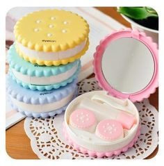 Online Shop Wholesale New Sweet Cookies Biscuits Series Colored Contact Lenses Box & Case/Contact lens bag Promotional Gift Eyewear Cases School Suplies, Cool School Supplies, Cute Stationary, School Stationery, Sweet Cookies, Too Cool For School, Candy Colors, Clay Crafts, Plastic Case