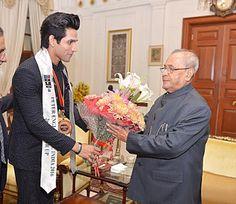 @InstaMag - President Pranab Mukherjee met Peter England Mr. India 2016 second runner-up Altamash Faraz here.