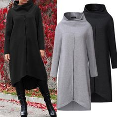 ZANZEA Women Long Shirt Dress Evening Party High Low Asym Split Sweatshirt Dress - Long Sleeve Dresses - Ideas of Long Sleeve Dresses Long Shirt Dress, Sweatshirt Dress, Dress Shirts For Women, Fashion Outfits, Womens Fashion, Evening Dresses, Casual Dresses, Sweatshirts, Clothes