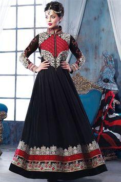 Graceful Mugdha Godse Black, Red Georgette Designer Floor Touch Suit
