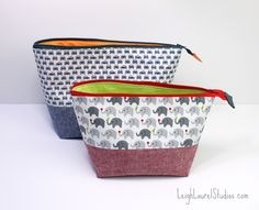 Open Wide Zippered Pouches by Leigh Laurel Studios {a Noodlehead pattern}