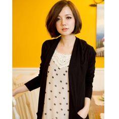Black Dot Lace Neck Line Women Chiffon Sweet Vest Dress H6028b via Polyvore