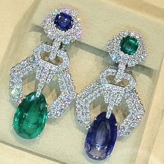 David Webb Diamond, Sapphire & Emerald Earrings