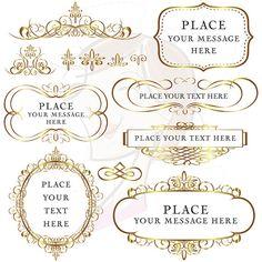 Gold Flourish Frames Swirl Borders Vintage Old World Design by MayPLDigitalArt, $6.50 #clipart #wedding #invitation