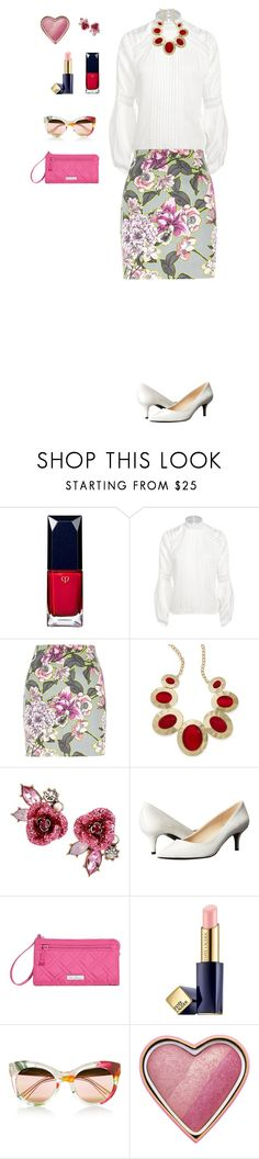 """Untitled #121"" by elleceee ❤ liked on Polyvore featuring Clé de Peau Beauté, River Island, Style & Co., Betsey Johnson, Nine West, Vera Bradley, Estée Lauder, Gucci, Too Faced Cosmetics and women's clothing"